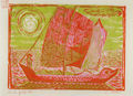 Zizi Makri, On Yang Tse, 1956-58, colored woodcut, 16 x 22 cm