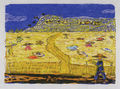 Zizi Makri, Working in the plain, 1956-58, colored woodcut, 17 x 23.5 cm
