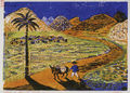 Zizi Makri, Mao Zedong΄s village, 1956-58, colored woodcut, 17 x 22 cm