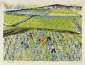 Zizi Makri, Rice field II, 1956-58, colored woodcut, 17 x 22 cm
